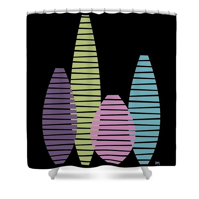 Abstract Shower Curtain featuring the digital art Vases On Black 2 by Donna Mibus