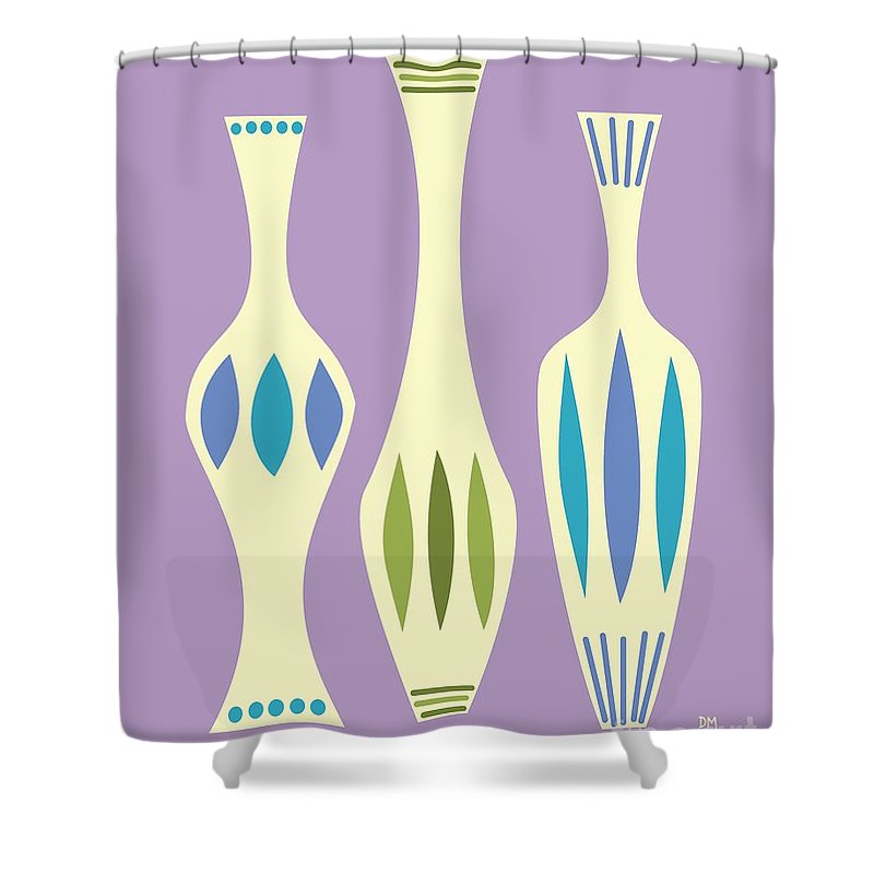 Retro Shower Curtain featuring the digital art Vases On Purple by Donna Mibus