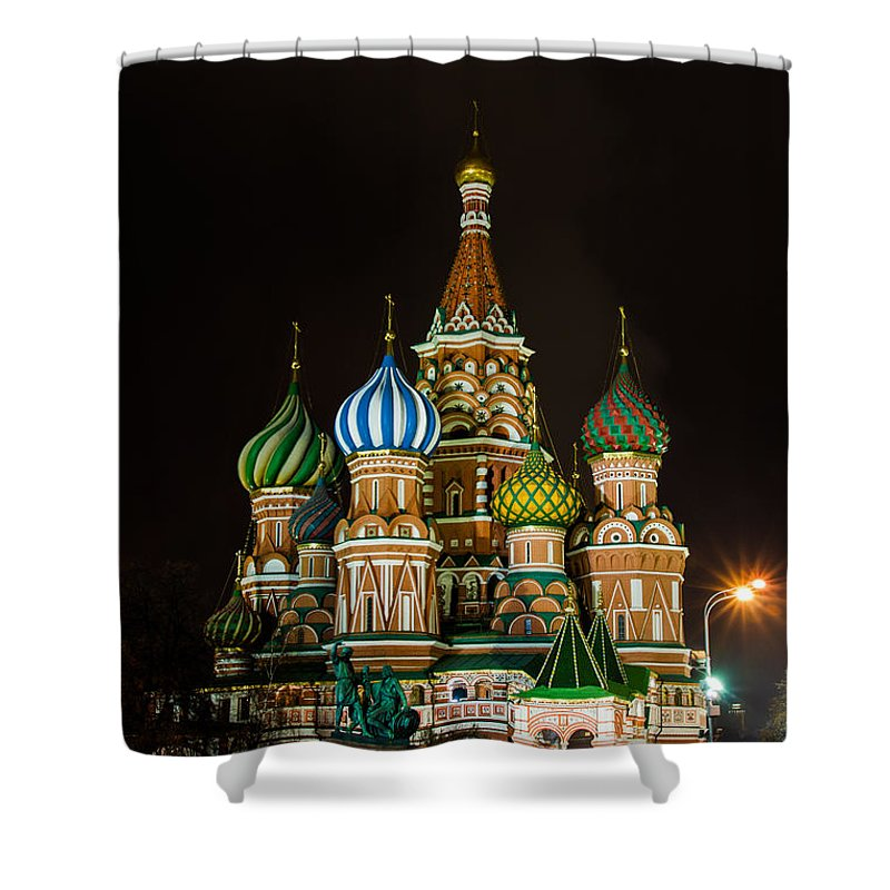 Photo Shower Curtain featuring the photograph Vasily The Blessed Cathedral At Night - Featured 3 by Alexander Senin