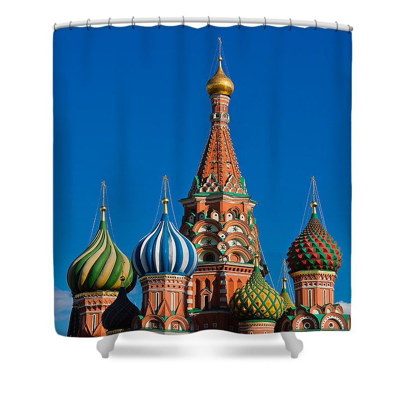 Featured Shower Curtain featuring the photograph Vasily The Blessed Cathedral On Moscow Red Square - Featured 2 by Alexander Senin