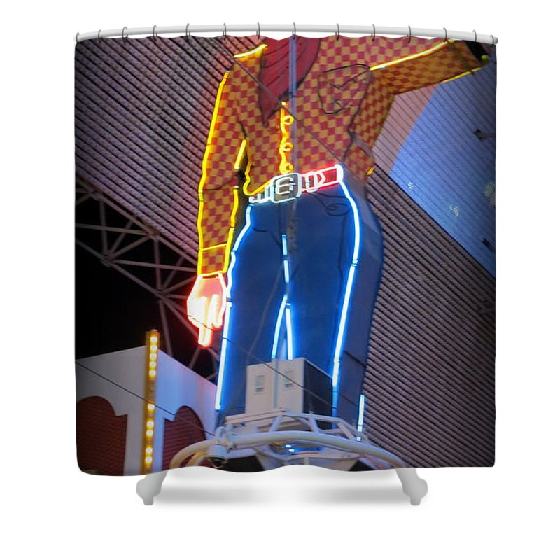 Vegas Vic Shower Curtain featuring the photograph Vegas Vic by Kay Novy