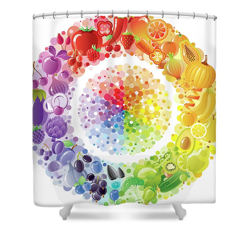 Nut Shower Curtain featuring the digital art Vegetarian Rainbow Plate Withe Fruits by O-che