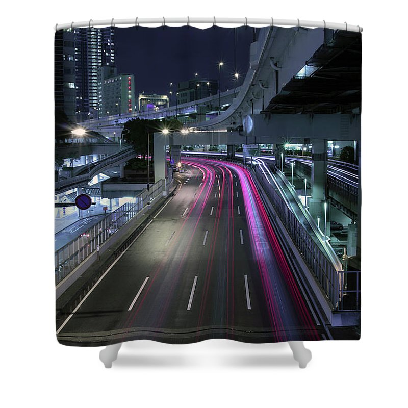 Yokohama Shower Curtain featuring the photograph Vehicle Light Trails On National Route 1 by Digipub