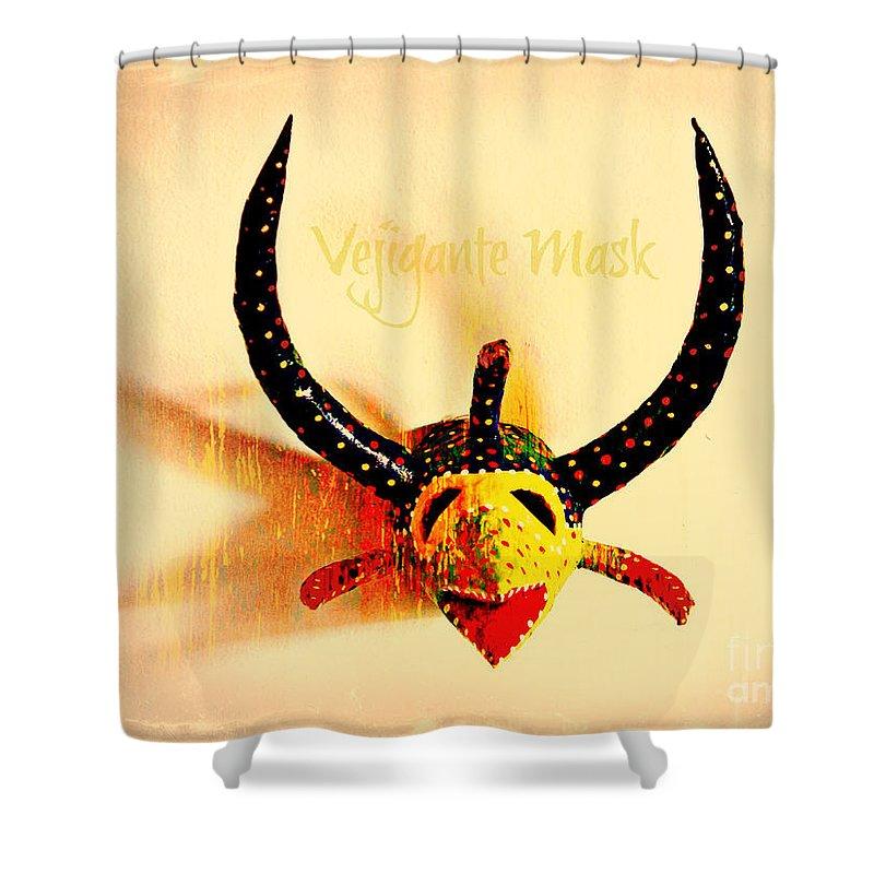 Vejigante Shower Curtain featuring the photograph Vejigante Mask by Lilliana Mendez