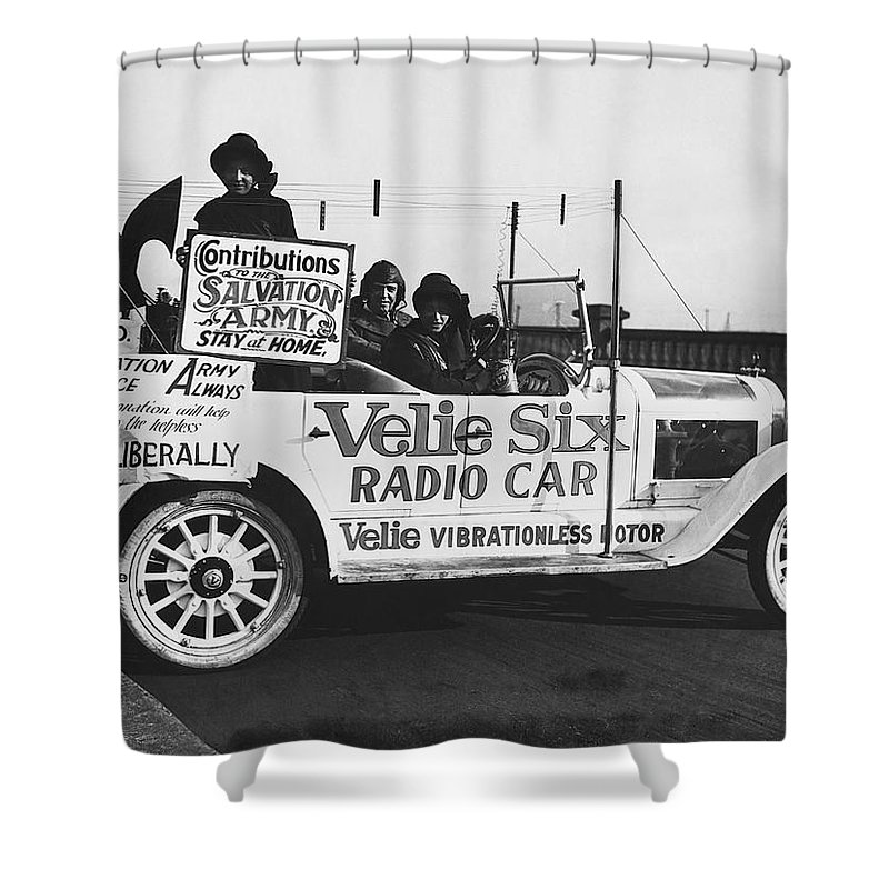 1920s Shower Curtain featuring the photograph Velie Six Radio Car by Underwood & Underwood