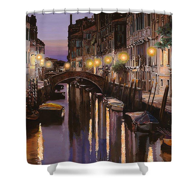 Venice Shower Curtain featuring the painting Venezia Al Crepuscolo by Guido Borelli