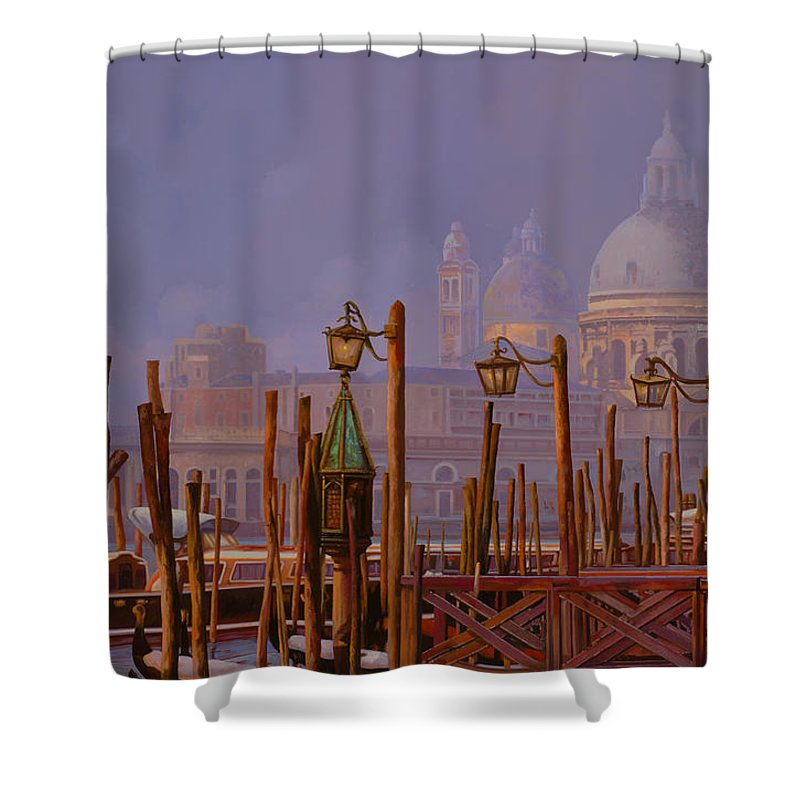 Venice Shower Curtain featuring the painting Venezia E La Nebbia by Guido Borelli