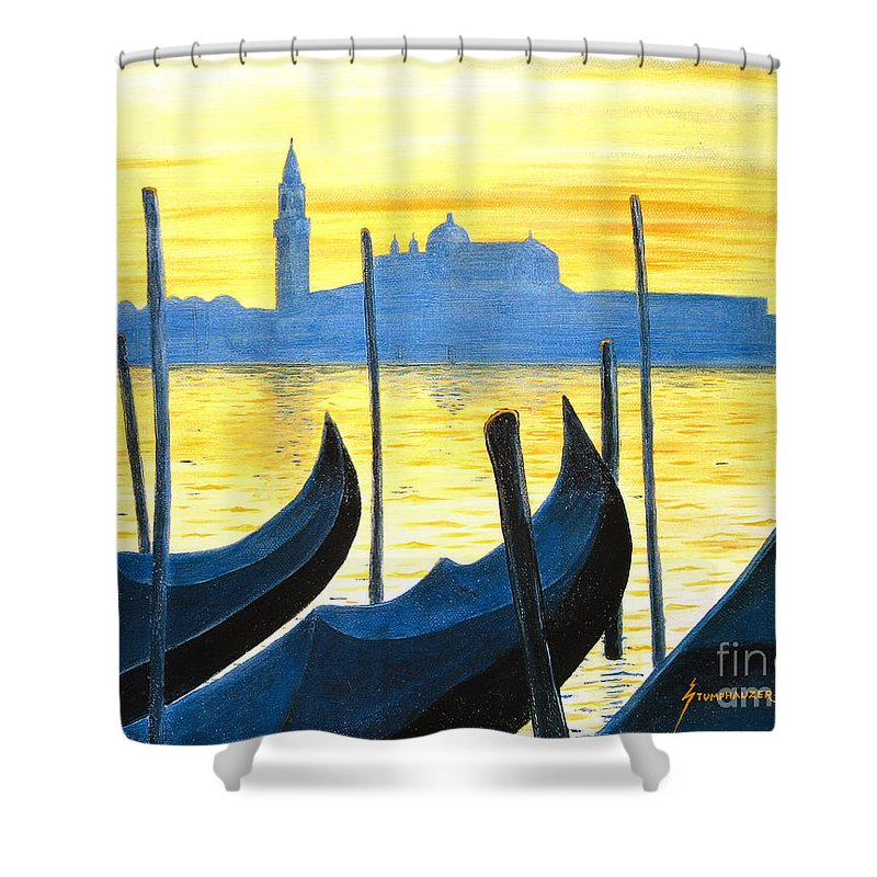 Venice Shower Curtain featuring the painting Venezia Venice Italy by Jerome Stumphauzer
