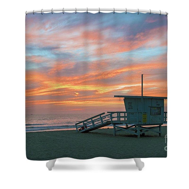 Venice Beach Shower Curtain featuring the photograph Venice Beach Lifeguard Station Sunset by David Zanzinger