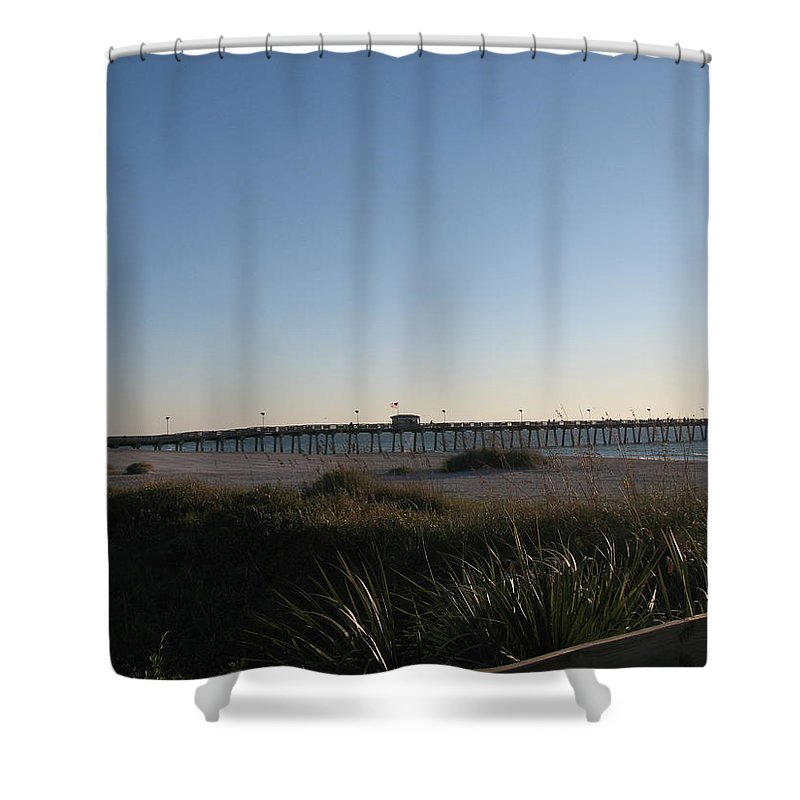 Pier Shower Curtain featuring the photograph Venice Beach Pier by Christiane Schulze Art And Photography