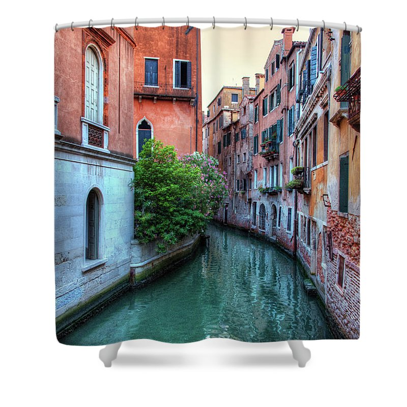 Tranquility Shower Curtain featuring the photograph Venice Canals by Emad Aljumah