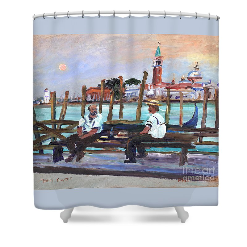 Venice Shower Curtain featuring the painting Venice Gondola With Full Moon by Valerie Freeman