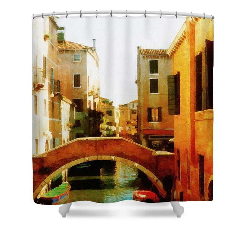 Venezia Shower Curtain featuring the photograph Venice Italy Canal With Boats And Laundry by Michelle Calkins