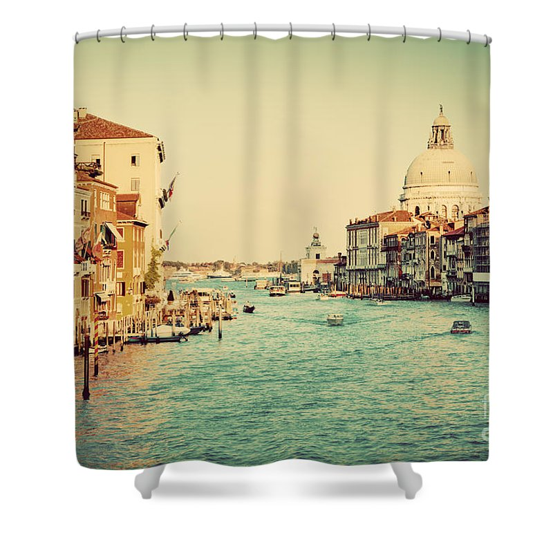Venice Shower Curtain featuring the photograph Venice Italy Grand Canal In Vintage Style by Michal Bednarek