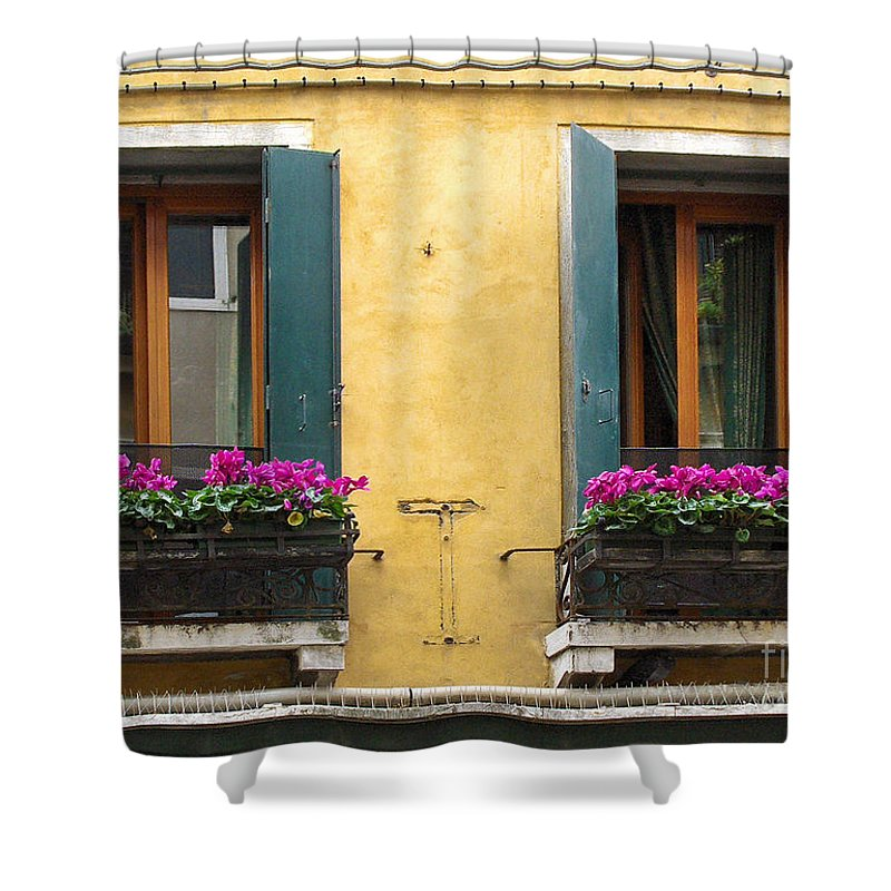 Venice Shower Curtain featuring the photograph Venice Italy Teal Shutters by Robyn Saunders