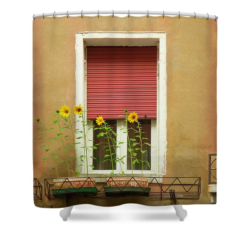 Venice Shower Curtain featuring the painting Venice Italy Yellow Flowers Red Shutter by Robyn Saunders