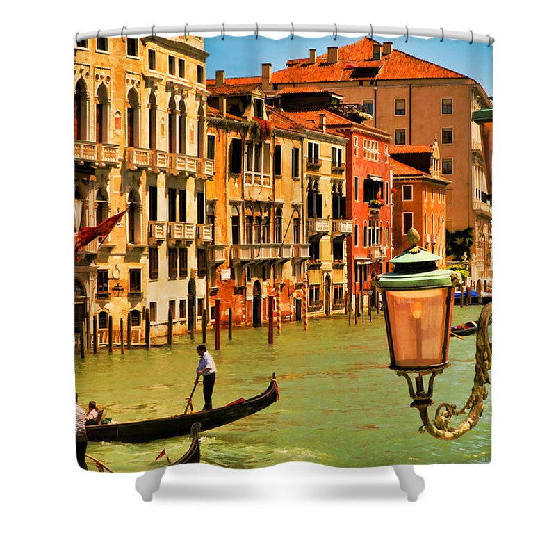 Venice Shower Curtain featuring the digital art Venice Street Lamp by Mick Burkey