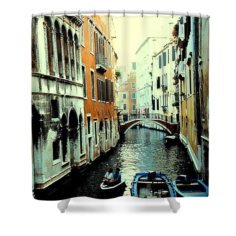 Venice Shower Curtain featuring the photograph Venice Street Scene by Ian MacDonald