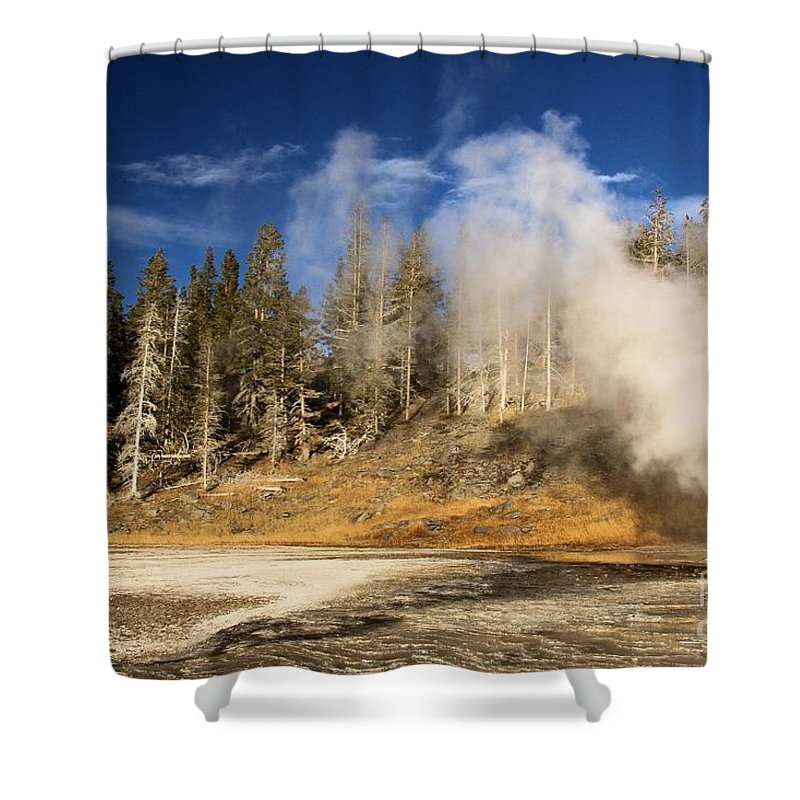 Vent Geyser Shower Curtain featuring the photograph Vent Geyser by Adam Jewell