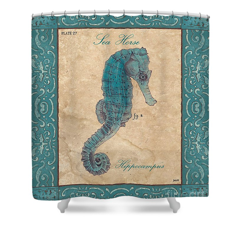 Coastal Shower Curtain featuring the painting Verde Mare 3 by Debbie DeWitt