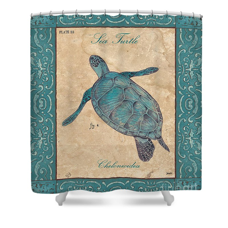 Coastal Shower Curtain featuring the painting Verde Mare 4 by Debbie DeWitt
