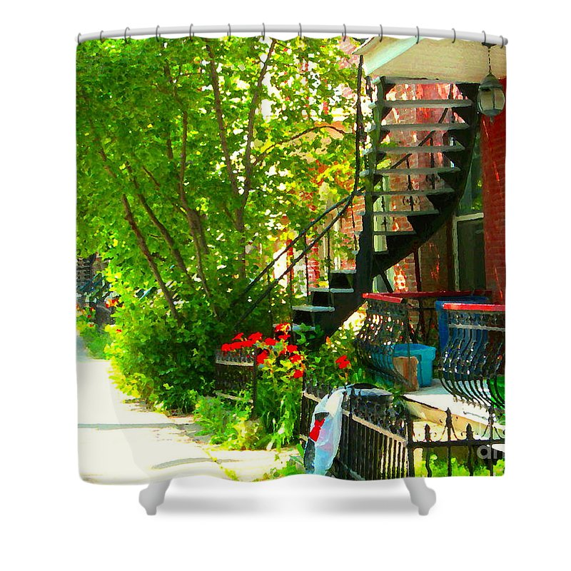 Montreal Shower Curtain featuring the painting Verdun Stairs Red Flowers On Winding Staircase Tall Shade Tree Montreal Summer Scenes Carole Spandau by Carole Spandau