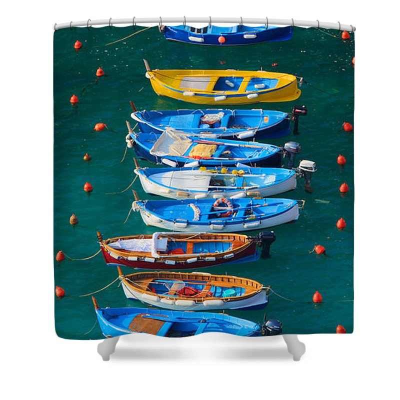 Cinque Terre Shower Curtain featuring the photograph Vernazza Armada by Inge Johnsson