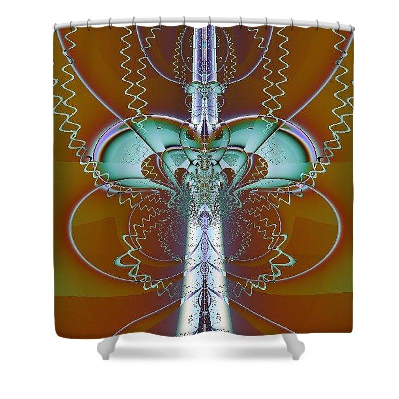 Digital Art Shower Curtain featuring the digital art Vertebrae I by Dragica Micki Fortuna