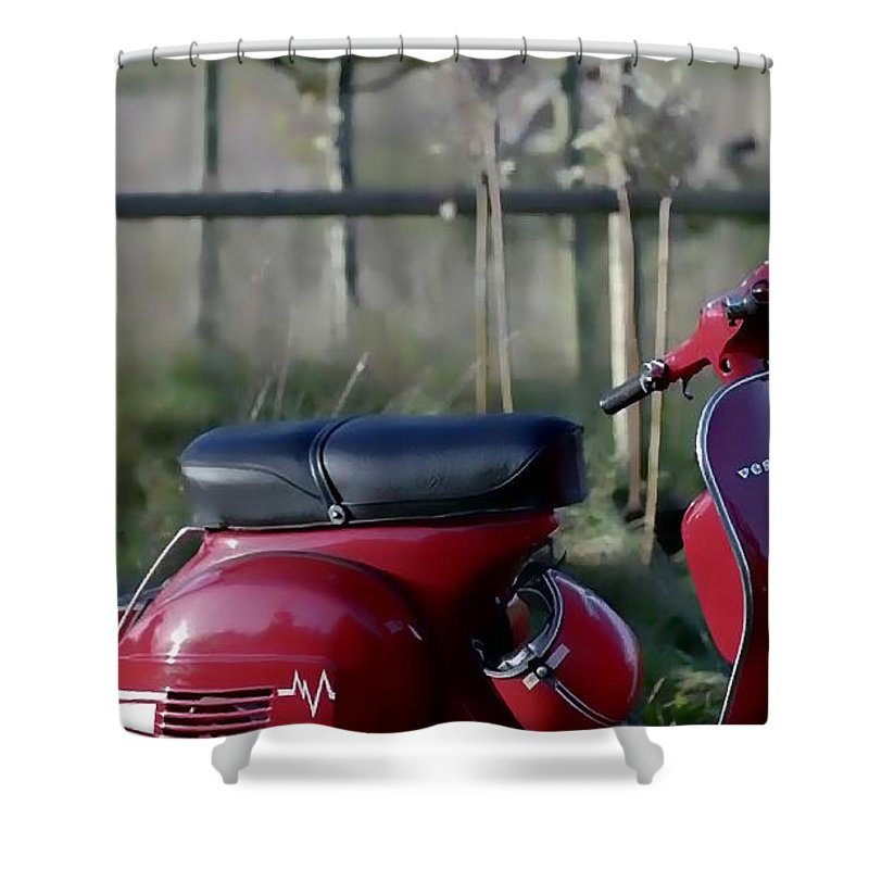 Scooter Shower Curtain featuring the photograph Vespa - Red Dream by Nenad Cerovic