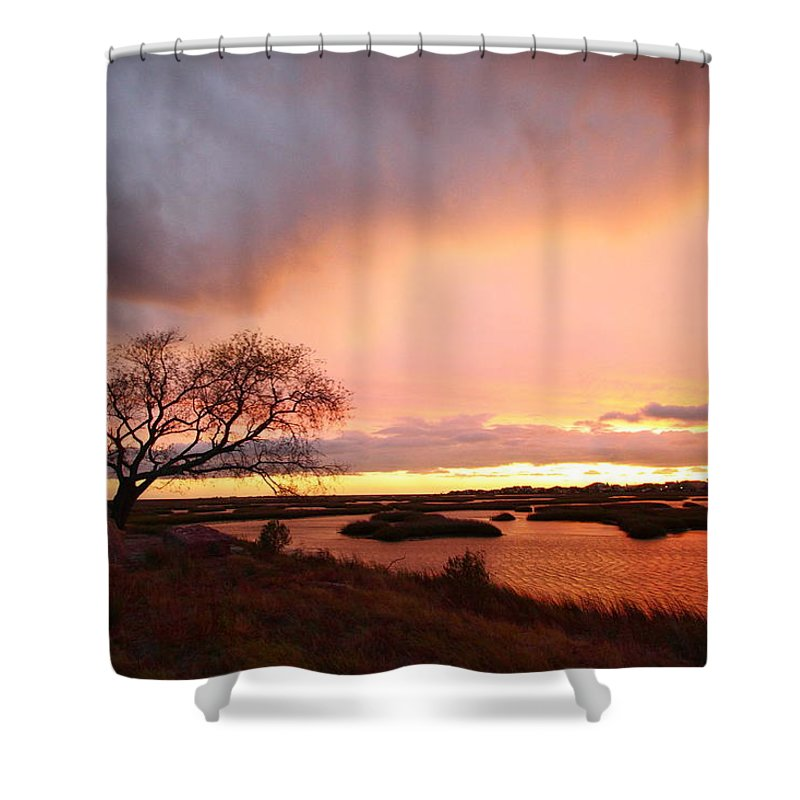 Galveston Shower Curtain featuring the photograph Storm At Dusk 2am-108350 by Andrew McInnes