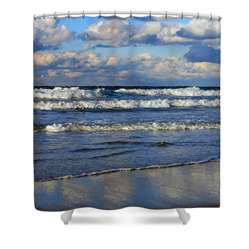 Beach Shower Curtain featuring the photograph Vibrant November Clouds by Dianne Cowen