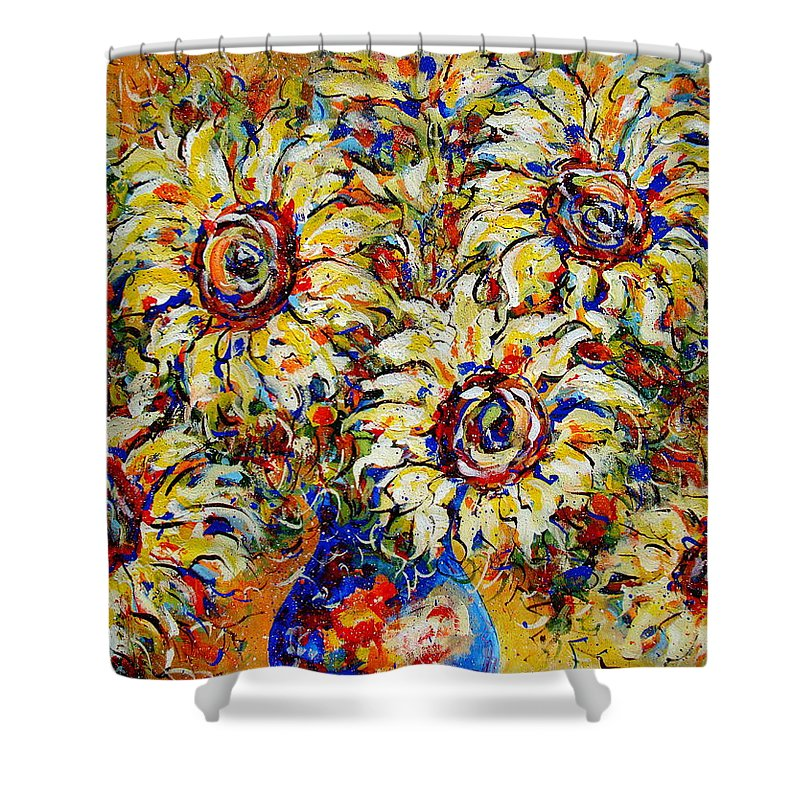 Flowers Shower Curtain featuring the painting Vibrant Sunflower Essence by Natalie Holland