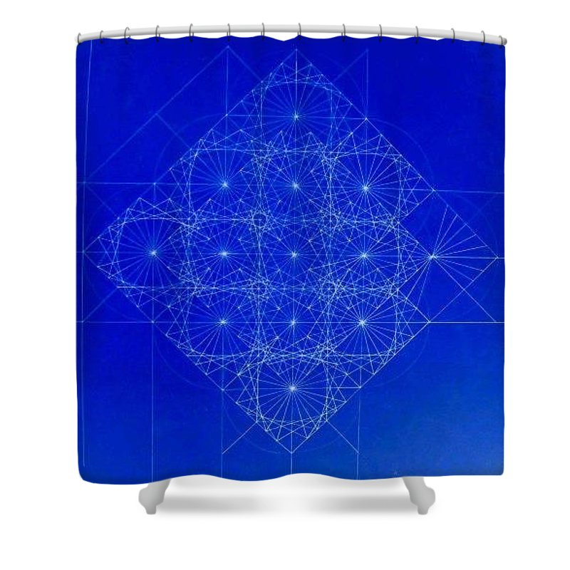 Sine Shower Curtain featuring the drawing Vibrating Space Time by Jason Padgett