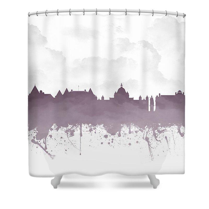 Victoria Shower Curtain featuring the digital art Victoria British Columbia Skyline - Purple 03 by Aged Pixel