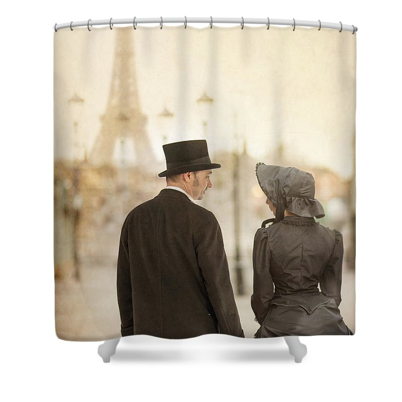 Victorian Shower Curtain featuring the photograph Victorian Couple In Paris by Lee Avison