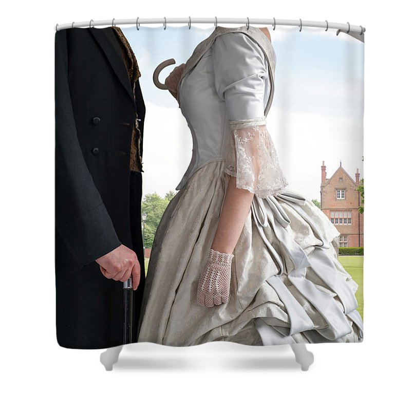 Victorian Shower Curtain featuring the photograph Victorian Couple In The Grounds Of A Country House by Lee Avison