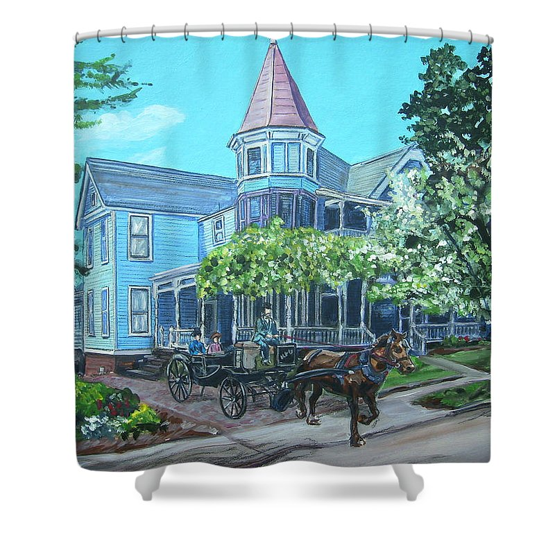 Victorian Shower Curtain featuring the painting Victorian Greenville by Bryan Bustard