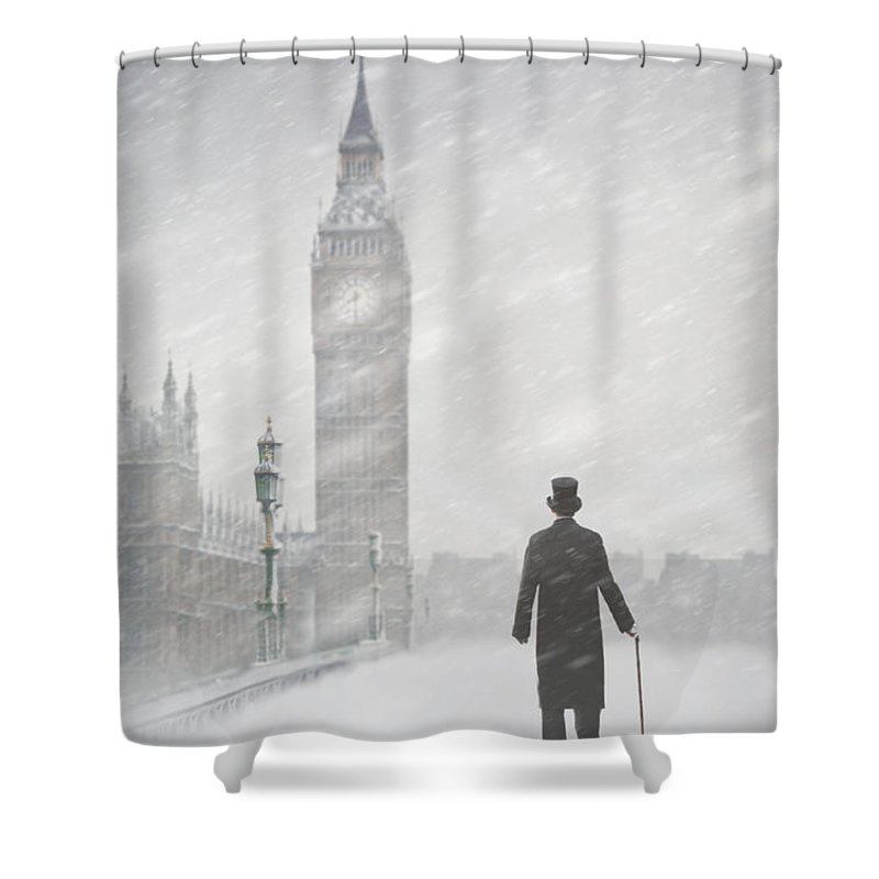 London Shower Curtain Featuring The Photograph Victorian Man In London With  Snow Walking Towards Big Ben