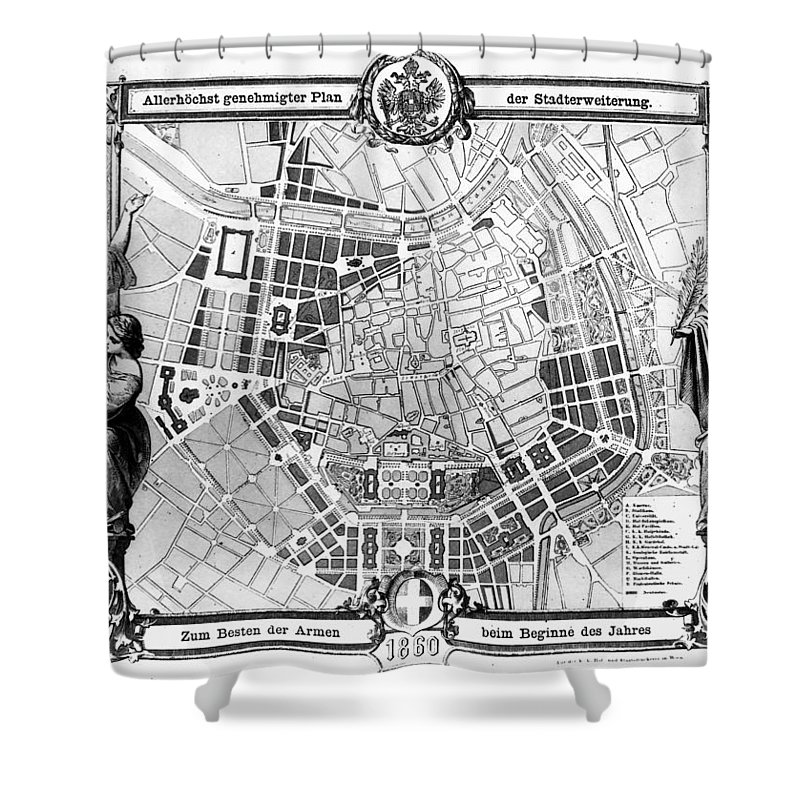 1860 Shower Curtain featuring the photograph Vienna: Plan, 1860 by Granger