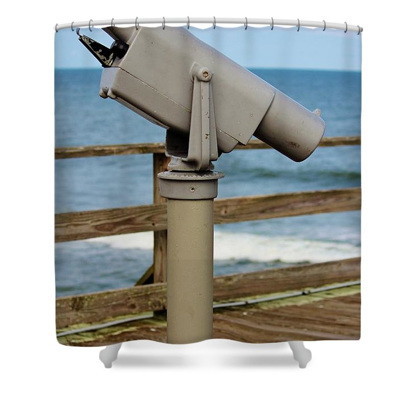 View Shower Curtain featuring the photograph View Finder At The Beach by Cynthia Guinn