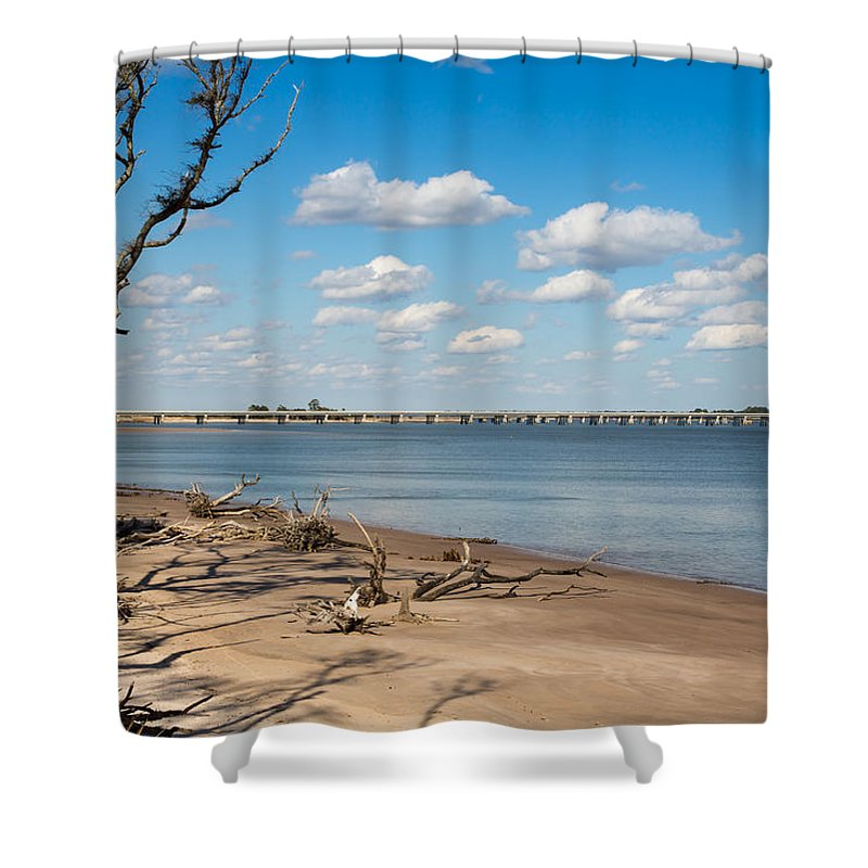 Beach Shower Curtain featuring the photograph View From Big Talbot Island Beach by John M Bailey