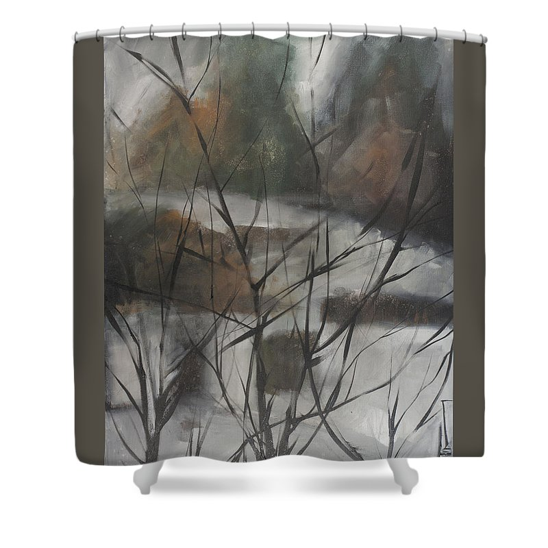 Trees Shower Curtain featuring the painting View From Foggy Window by Tim Nyberg