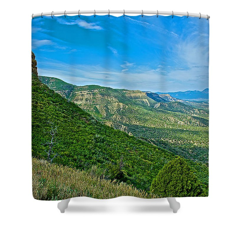 View From Knife Edge Road Overlooking Montezuma Valley In Mesa Verde National Park-colorado Mesa Verde National Park Shower Curtain featuring the photograph View From Knife Edge Road Overlooking Montezuma Valley In Mesa Verde National Park-colorado  by Ruth Hager