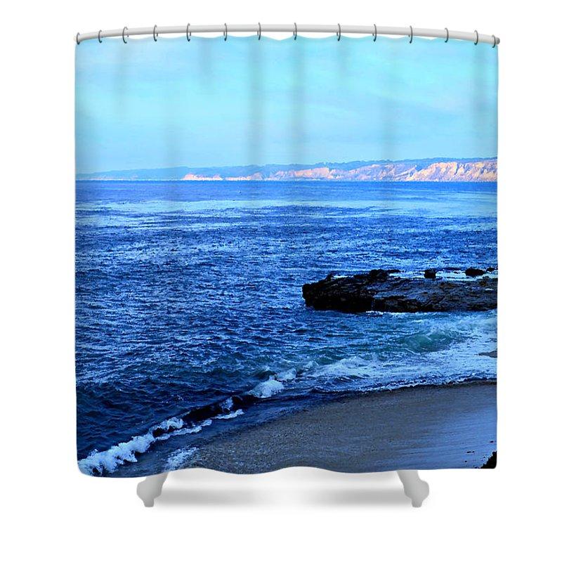 Digital Paint Effect Shower Curtain featuring the photograph View From La Jolla by Sharon Tate Soberon