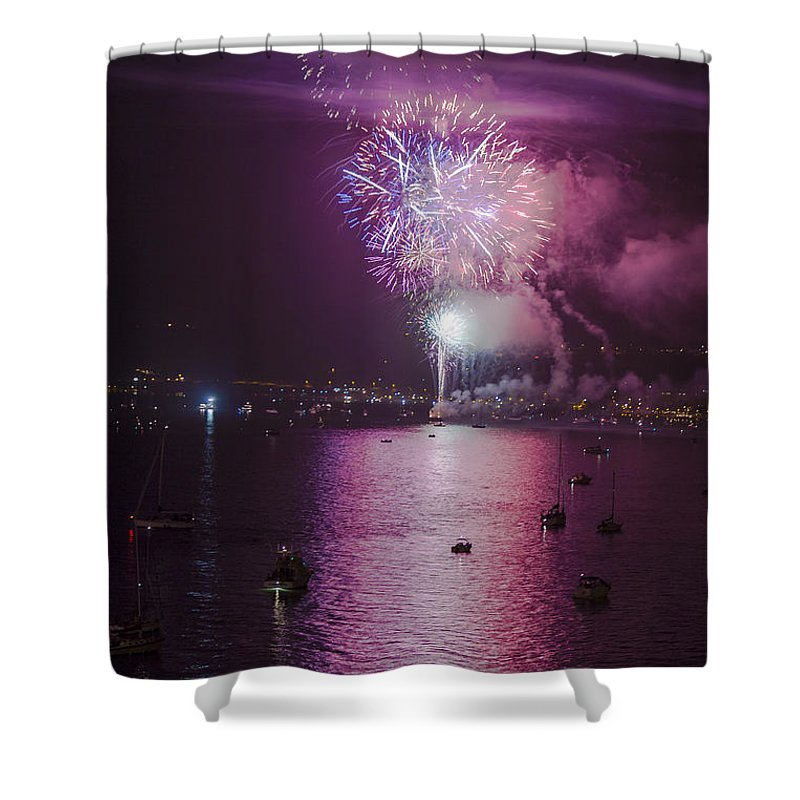 Fireworks Shower Curtain featuring the photograph View From The Deck by Scott Campbell