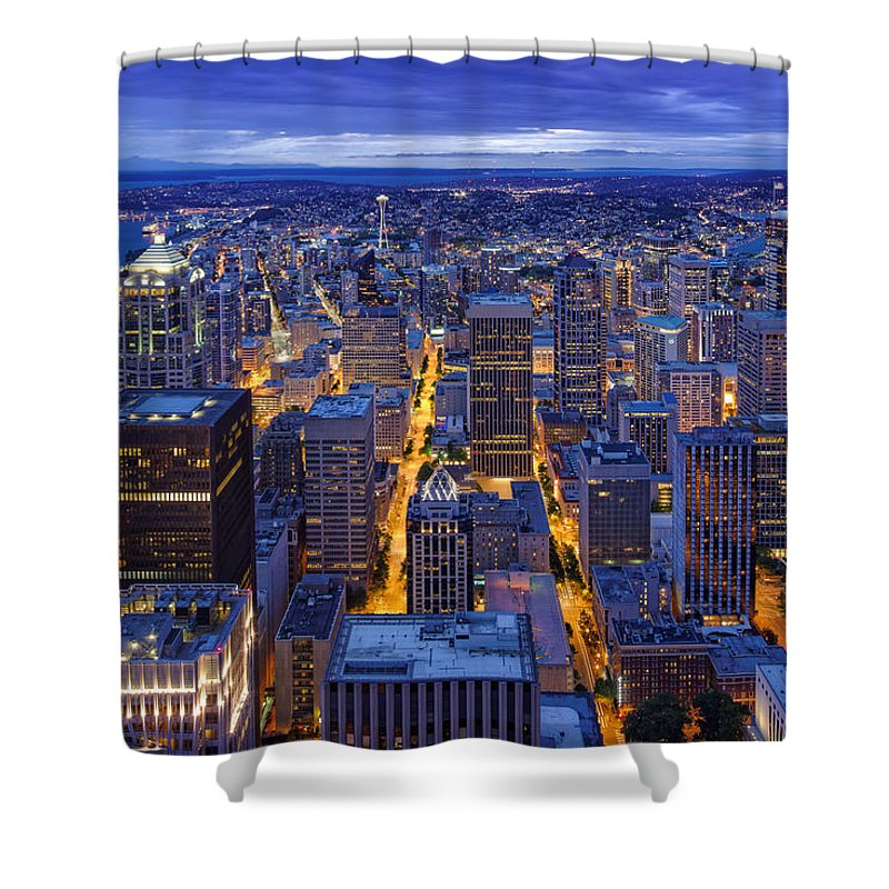 View Of Downtown Seattle Skyline From Columbia Tower Skyview Observatory -  Seattle Washington Shower Curtain