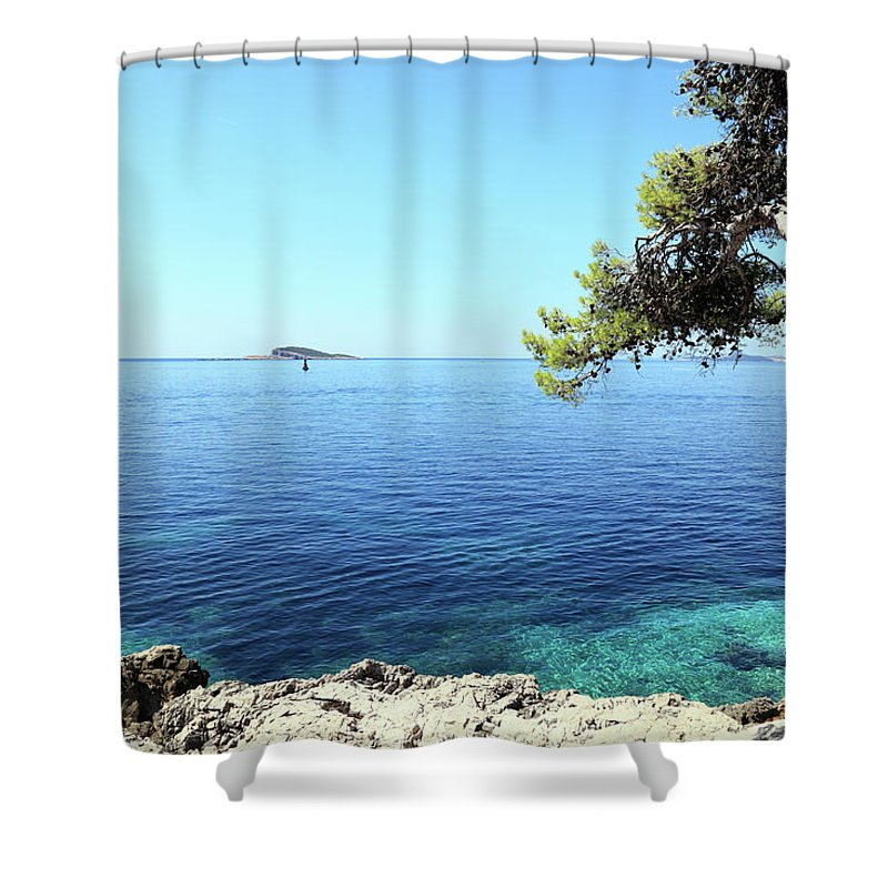 Water's Edge Shower Curtain featuring the photograph View Of Dubrovnik From Cavtat Peninsula by Vuk8691