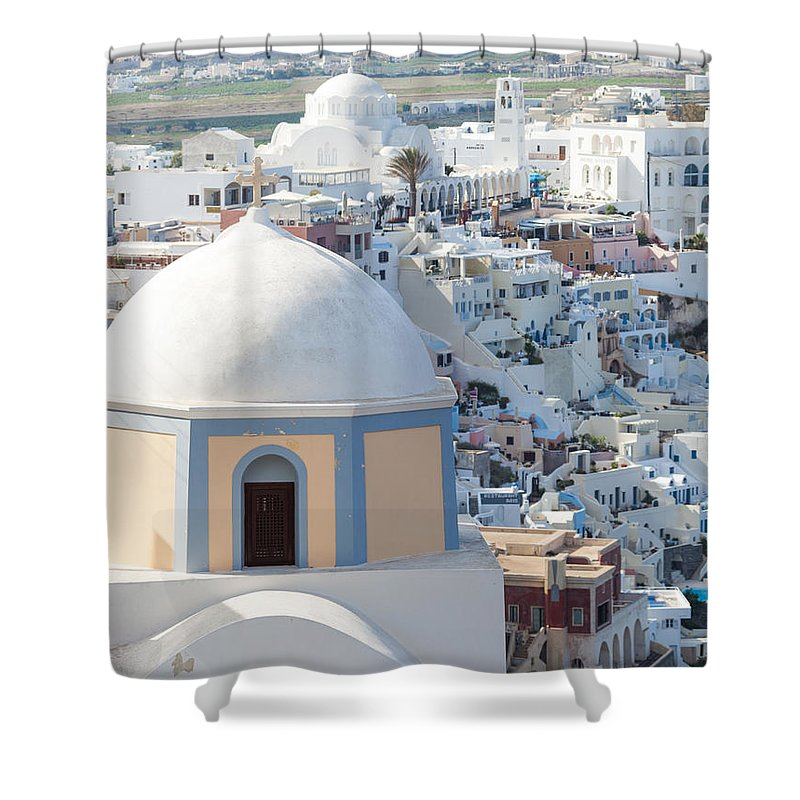 Architecture Shower Curtain featuring the photograph View Of Fira With Famous Church Santorini Greece by Matteo Colombo