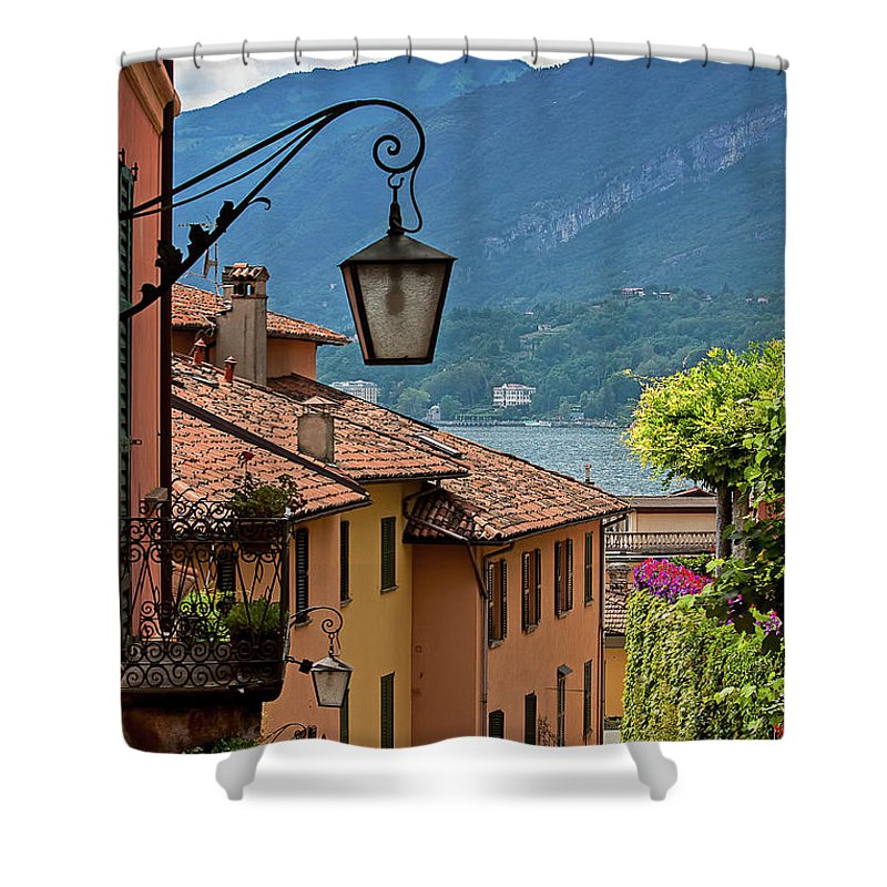 Tranquility Shower Curtain featuring the photograph View Of Lake Como From Upper Street by Melinda Moore