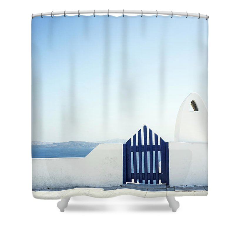 Scenics Shower Curtain featuring the photograph View Of Ocean From Balcony, Greece by Gollykim